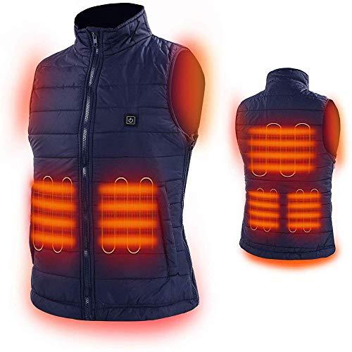 Verwarmd vest, wasbaar formaat, instelbaar via USB, 3 warme vesten met temperatuurregeling, geschikt voor kamperen buiten, oplaadbare verwarming, mannen en vrouwen (zonder batterijen)