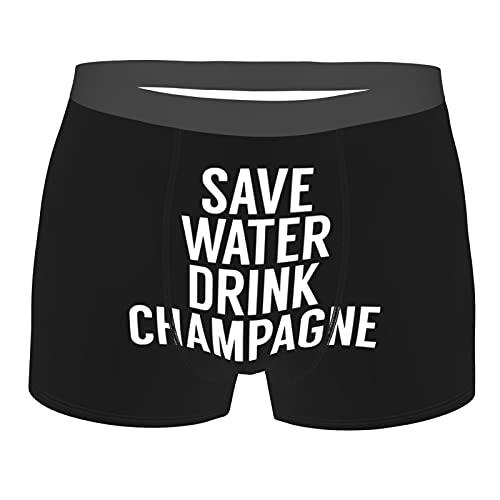 Save Water Drink Champagne - Calzoncillos tipo bóxer para hombre, diseño de champán, talla grande, calzoncillos