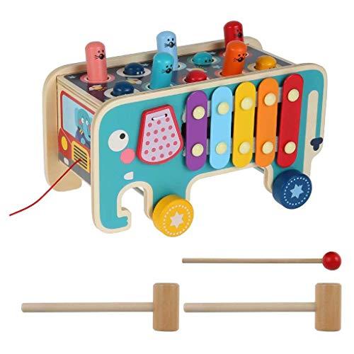 LSZ Creative Elephant Look Hamster Juego Percusión de Madera Tractor de Madera Forma Color Reconocimiento práctico Entrenamiento de la Primera Infancia Educación del Cerebro Juego Juguetes de Bebe