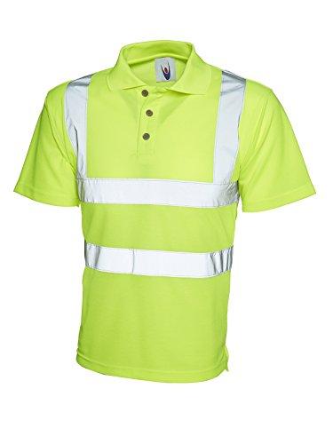 Polo haute visibilité de sécurité haut visibilitéà manches courtes UC805 de travail pour homme - Jaune - Large