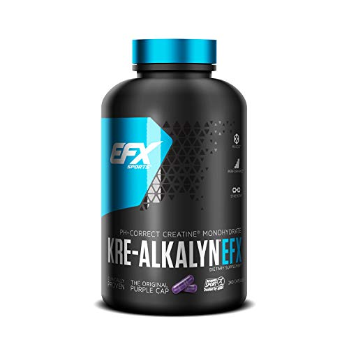 EFX Sports Kre-Alkalyn | PH-Correct Creatine Monohydrate | Multi-Patented Formula, Gain Strength, Build Muscle & Enhance Performance - 240 Capsules / 120 Servings