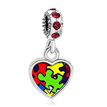 Charmed Craft Photo Charms Autism Awareness Charms Wish Love Heart Mom Butterfly Beads for Bracelets  Red Crystal Heart Dangle