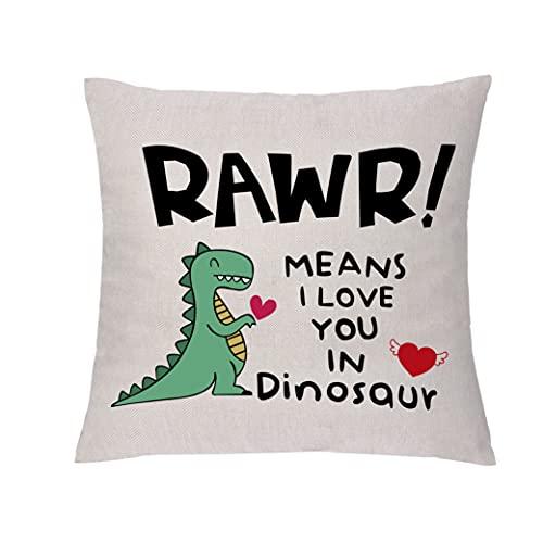 GHORIHUB Funny Love Throw Pillowcase Esposa Esposo Boda Funda de cojín de lino Funda de almohada Novia Novio Abrazo Funda de almohada Rawr Significa I Love You in Dinosaur Engagement Home Gift