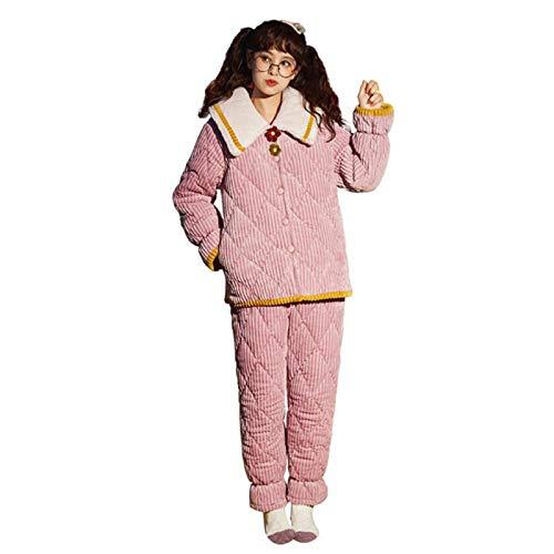 HUOFEIKE Sistema De 2 Piezas del Pijama Caliente para Las Mujeres Franela De Noche Ropa De Dormir Cálida con 2 Bolsillos De Manga Larga Jersey Y Fondos Invierno Frío,XL