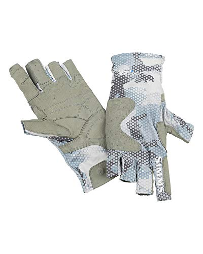 Simms SolarFlex Guide Handschuh (Hex Flo Camo Grau Blau, Größe L)