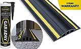 Garadry 1 ½' High Garage Door Flood Barrier Threshold Seal Kit (10'3') | Black/Yellow, Vinyl | Complete Kit, Includes Adh