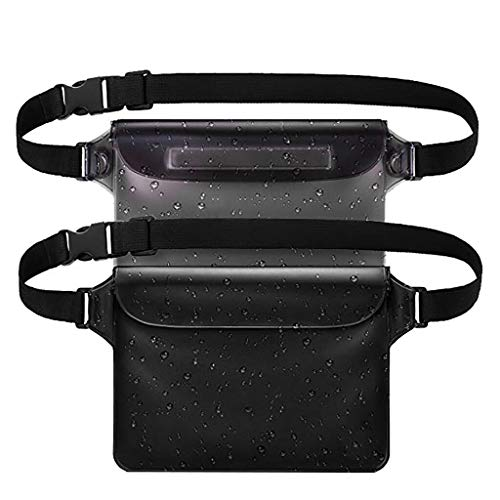 Waterproof Fanny Pack 2 Pcs,Haluoo Water Resistant Dry Pouchwaist Bag With Waist Strap Passport Holder Keep Your Cellphone Cash Safe And Perfect For Boating Swimming Snorkeling Kayaking Beach (Black)