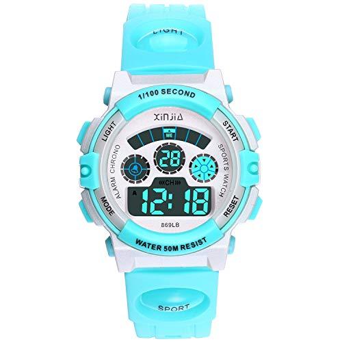 Reloj Digital para Niños,Niños Niñas 50M (5ATM) Impermeable 7 Colores LED Relojes Deportivos Multifuncionales para Exteriores con Alarma (Azul Claro)