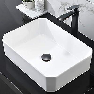 HOSINO Bathroom Vessel Sink and Faucet Drain Combo 20x15 Inch Rectangular Vanity Basin Above Counter Ceramic Sinks Countertop White Washing Bowl Set ORB Faucet