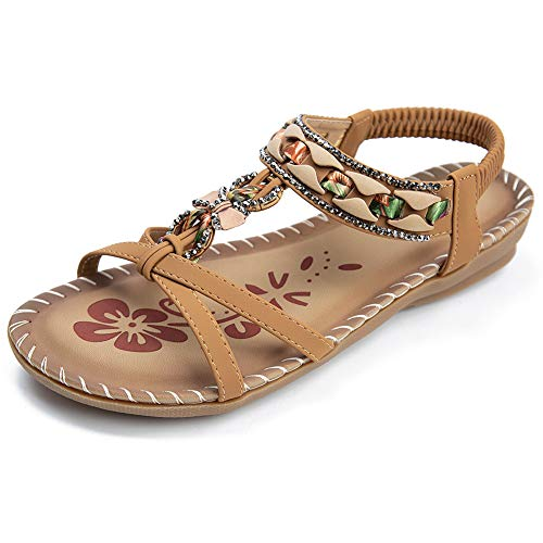 Womens Summer Comfort Flats Sandals with Elastic Ankle Strap Casual Gladiator Bohemian Rhinestone Shoes Beach Slip On Sandals Open Toe