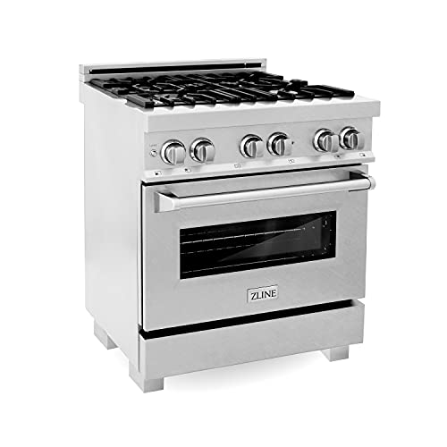 ZLINE 30' 4.0 cu. ft. Dual Fuel Range with Gas Stove and Electric Oven in DuraSnow with Color Options (RAS-SN-30) (DuraSnow Stainless Steel)
