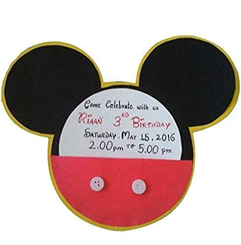 Disney Mickey Mouse Theme Party Invitation Cards : Pack of 10