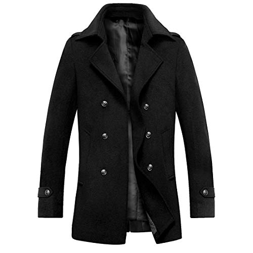 iCKER Mens Trench Coat Winter Wool Blend jacket Overcoat Top Coat Warm Pea Coat-1903-Black-Medium