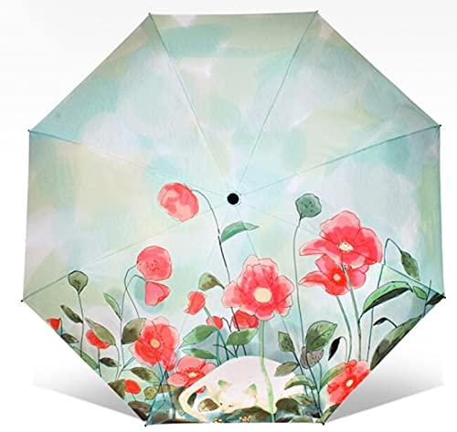 XIKONG Paraguas de Viaje, Paraguas Impermeable a Prueba de Viento Paraguas Anti-UV Paraguas de Golf Cat Under The Flower