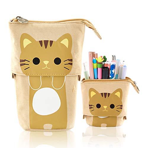 iSuperb Estuche para Lápices Desplegable Encantador Bolso de Lápices Contráctil con Cremallera Pequeña Bolsa para Lapices Estudiante Plumier Pencil Case Kawaii (Caqui)