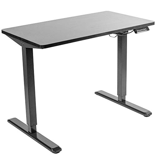 VIVO Electric Height Adjustable 43 x 24 inch Stand Up Desk, Black Solid One-Piece Table Top, Black Frame, Standing Workstation with Memory Preset Controller, DESK-KIT-1B4B