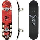 streakboard Skateboard Completo, 80 x 20 cm Skateboard Double Kick Deck Concavo, con Cuscinetti a Sfera...