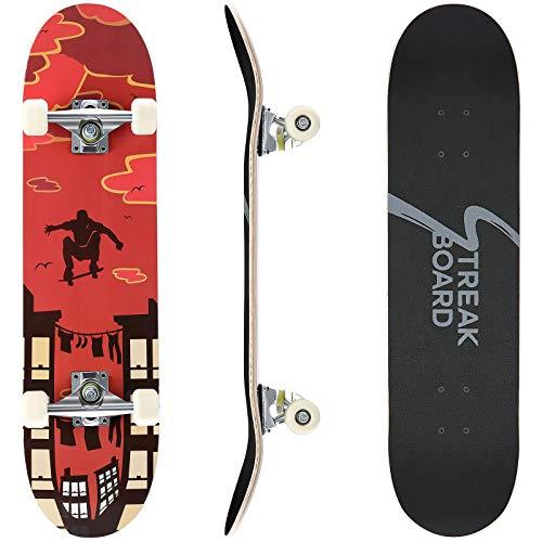 streakboard Skateboard Completo, 80 x 20 cm Skateboard Double Kick Deck Concavo, con Cuscinetti a Sfera ABEC-7 e 7 Strati in Legno D'acero Canadese, per Principianti Bambini e Ragazzi e Adulti