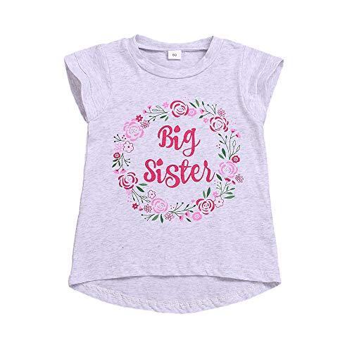 Große Schwester T-Shirt Kleinkind Mädchen Blumen Kurzarm Top Bluse Große Schwester Ankündigung Shirt 1-6J,Grau,90/2-3J
