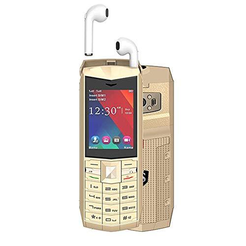Teléfonos de botón con auriculares inalámbricos Bluetooth, teléfonos de botón, teléfonos dorados, teléfonos móviles multifuncionales, teléfonos antiguos rectos, teléfonos de modo dual con tarjeta dua