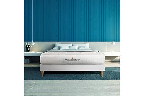 Ensemble Matelas à mémoire de Forme Maxi épaisseur Balmoral 160x200 sommier KIT Blanc | Epaisseur : 24 cm | Confort : Ferme