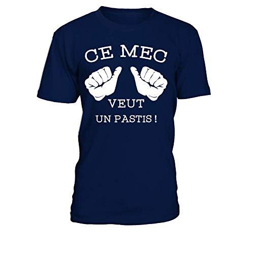 TEEZILY T-Shirt Homme Ce mec Veut Un Pastis ! - Bleu Marine - XL