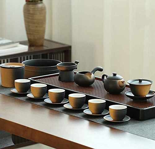 YUNSHAO Exquisito Kung Fu Juego De Té con Bandeja Tetera Japonesa Bandeja De Té para Almacenamiento De Agua Juego De Té De Oficina De Cerámica Restaurante 18 Piezas
