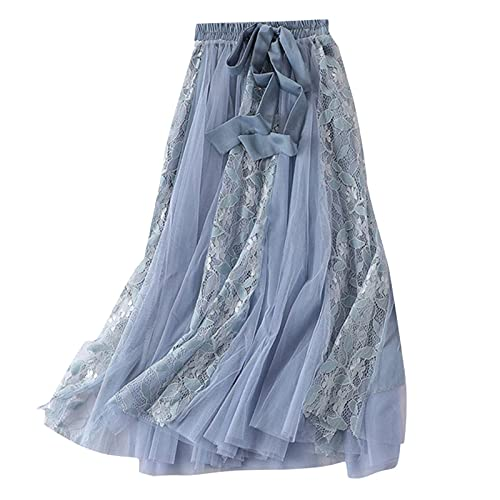 Women's Tulle Fairy Skirt Mesh Puffy Tutu A-line Flared Long Bow Elastic High Waist Swing Big Hem Maxi Skirts Blue