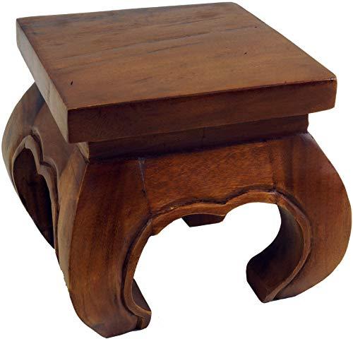 Guru-Shop Mini Mesa de Opio, Banco de Flores de Madera Maciza - Marrón 20x20 cm, Brown, Mesas de Centro Mesas de Suelo