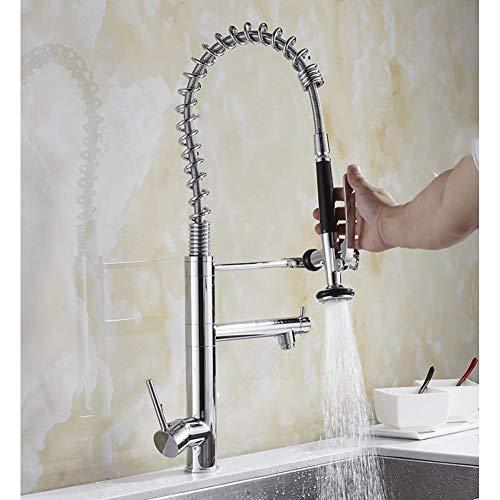 Spring Kitchen Faucet Pull Out Side Sprayer Agua Fría Y Caliente Mezclador De Doble Caño Grifo Del Fregadero Grifo 360 Rotación Grifos De Cocina