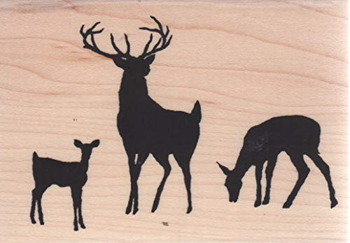 Impression Obsession E13830 Deer Family Wood Mounted Rubber Stamp