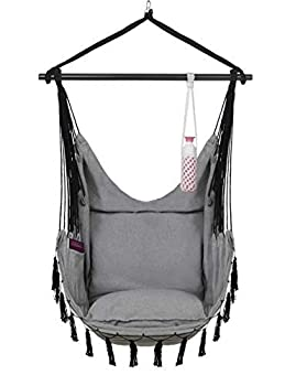 VITA5 Hanging Chair 2 Cushions Drinks & Book Holder 500 lbs Weight Capacity – Hammock Chair for Bedrooms – Swing Chair for Indoor & Outdoor  Warm Grey