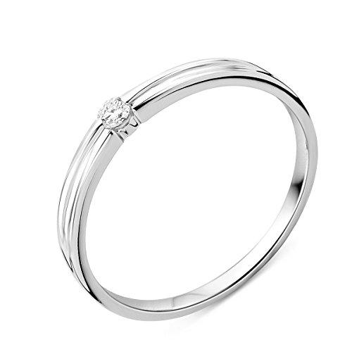 Miore - Anello di fidanzamento in oro bianco 9 kt con diamante solitario da 0,05 kt, 52 (16.6), cod. M9155R52