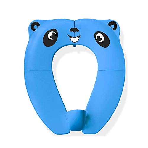 WeTest Portable Potty Seat with Splash Guard for Toddler,Foldable Travel Potty Seat with Carry Bag,Non-Slip Pads Toilet Potty Training Seat Covers-Blue