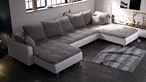 Wohnideebilder Sofa Couchgarnitur Crush in modernem Design, abgesetzte Nähte, doppelte Verbindung von Kunstleder und Stoff, präzise verarbeitet.