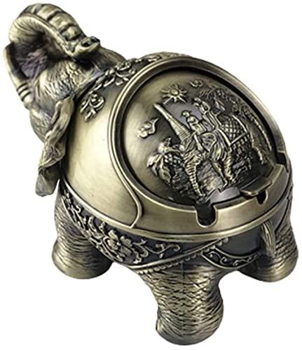 Auspicious - Cenicero de elefante, multifuncional, resistente al viento, metal, decoración para el hogar, sala de estar, oficina, regalo de artesanía (color: B)-B