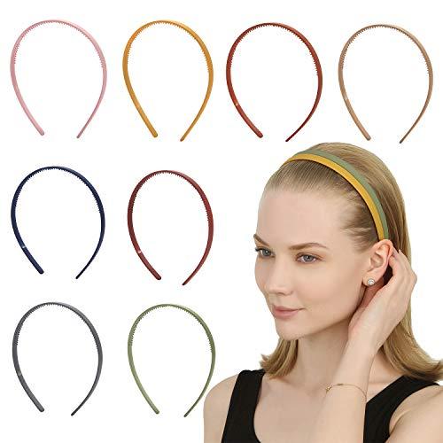 Folora 8pcs dünne bunte Kunststoff Stirnbänder mit Zähnen Plain DIY Stirnbänder für Frauen Mädchen, 8 Farben