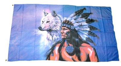 Fahne / Flagge Indianer mit Wolf 90 x 150 cm Flaggen