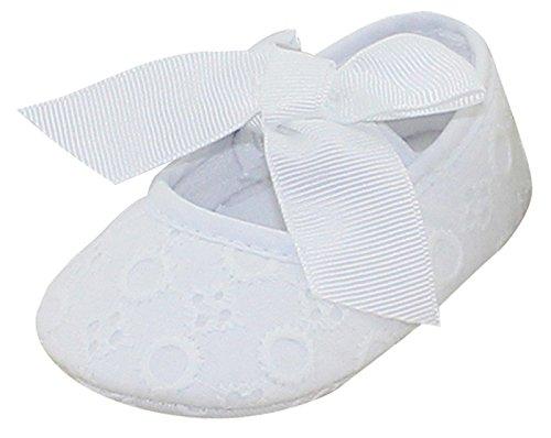 Aivtalk Nouveau né Chaussures coton Semelles Souples Bébé fille premier pas chausson avec Nœud papillon Baptême Anniversaire adapter au Printemps Eté Hiver(6-12 Mois Blanc)