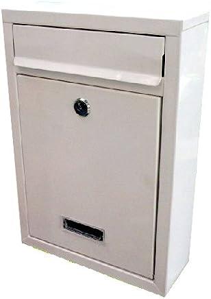 シンプル デザイン 郵便 ポスト 【ホワイト】 壁 取付 盗難 防止 鍵 付き