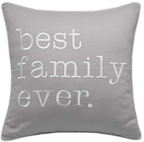 """Rudransha Pillowcase Embroidered Best Family Ever Pillow Throw Pillow Accent Pillow with Zipper Closure Couch Pillow Decorative Home Decor Sofa Pillow Covers (L.Grey(Best Family), 18""""x18"""")"""