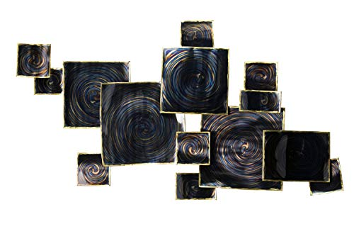 Kunstloft® Extravagante Escultura de Pared de Metal 'Cielo Tras la tormenta' 99x54x7cm | Decoración XXL Metal Arte | Cuadrados remolinos Azul | Cuadro Hecho a Mano Imagen Mural de Arte Moderno