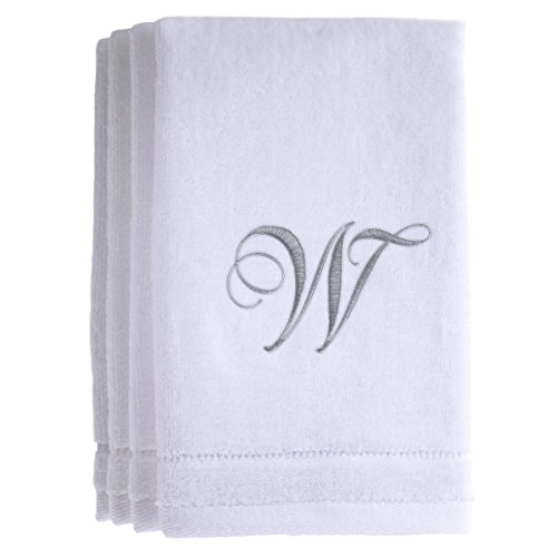 Monogrammed Towels Fingertip, Personalized Gift, 11 x 18 Inches - Set of 4- Silver Embroidered Towel - Extra Absorbent 100% Cotton- Soft Velour Finish - For Bathroom/ Kitchen/ Spa- Initial W (White)