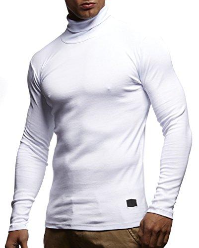 Leif Nelson Herren Rollkragenpullover Pullover Rollkragen Hoodie Slim Fit (Weiss; Medium)