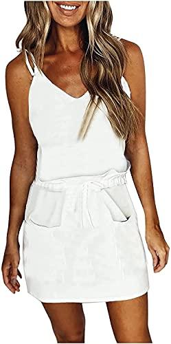 Women Dress Summer V Neck Swing Dress Sleeveless Spaghetti Dresses with Belt Stripe Splicing Sling Strap Dress (White,S)