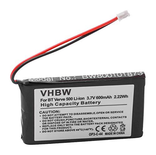 vhbw Li-Ion Akku 600mAh (3.7V) für schnurlos Telefon Grundig Calios 1, 1A, H1 wie RP423048, CP76, LZ423048BT.