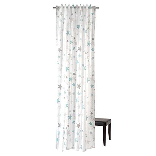 Homing Vorhang mit verdeckten Schlaufen Stars - 245 x 140 cm - Weiß - Grau - Blau - 5910-08