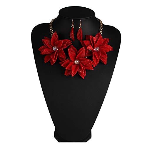 ZCPCS Europa y la Moda de Estados Unidos Collar Popular Anillo Ear Flor Red Flor Exageración Collar Femenino Accesorios Joyería Adorno (Color : Red)