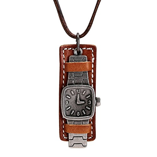 Beglie Verstellbar Halskette Paar Edelstahl Armbanduhr Herren Leder Kette Anhänger Silber Braun Größe:7.2 * 2.9CM