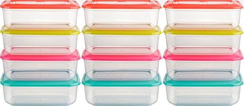 Kigima Tiefkühldose Frischhaltedose 2,5l rechteckig 12er Set bunt